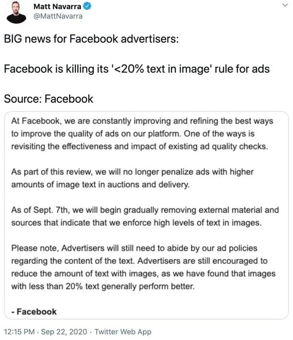 Facebook 20% regla